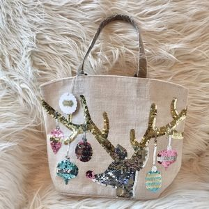 NWT Mudpie Canvas Reindeer Sequin Tote Bag